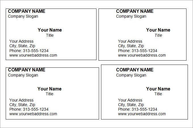 Blank Printable Business Card Template For Word