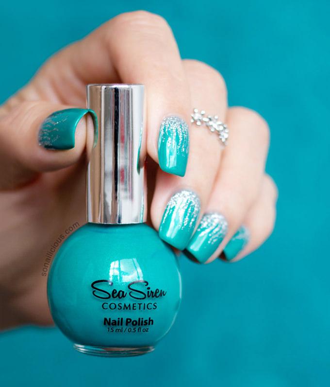 blue creative nail design