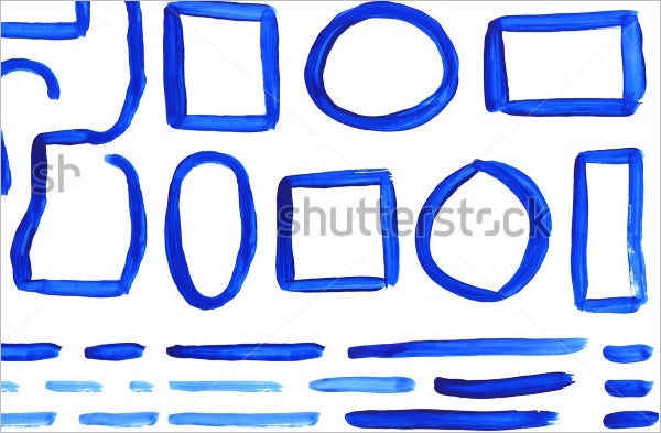 blue vector watercolor brush frames