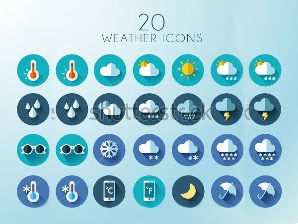 blue weather icons suite