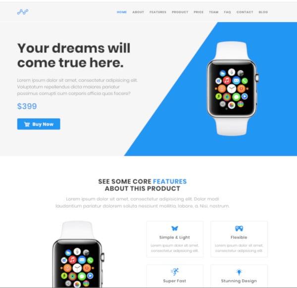 blue wordpress product landing page theme