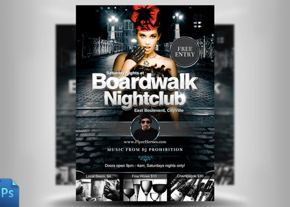 board walk night club flyer template