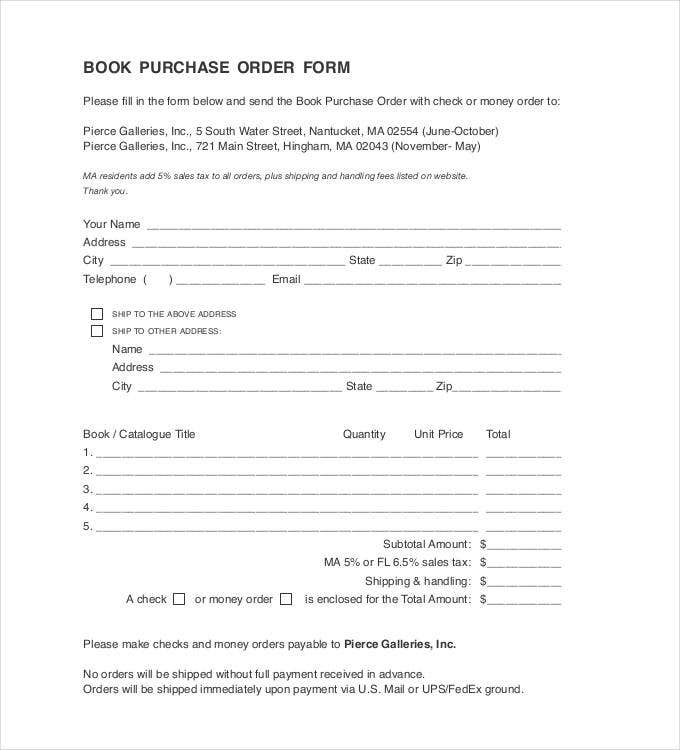 book purchase order form format