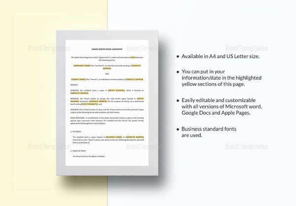 Sample Booth Rental Agreement Template In Word  Microsoft Word Rental Agreement Template