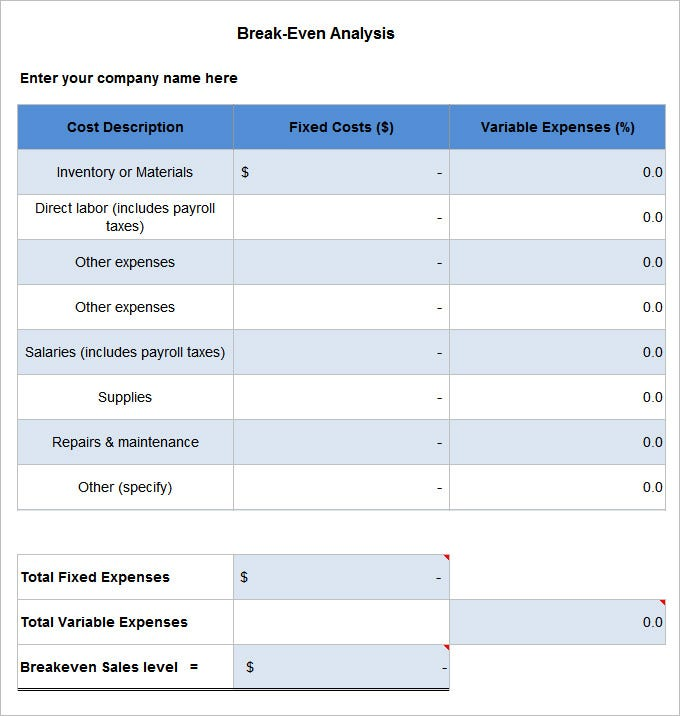 break even analysis template free download