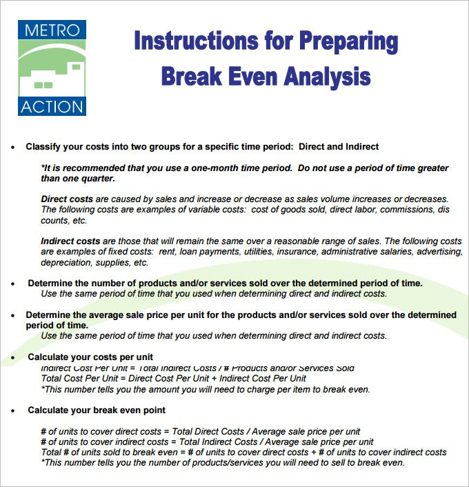 break even analysis template pdf download