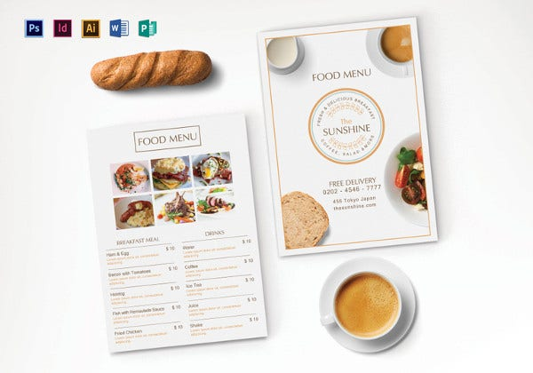 breakfast party menu psd template