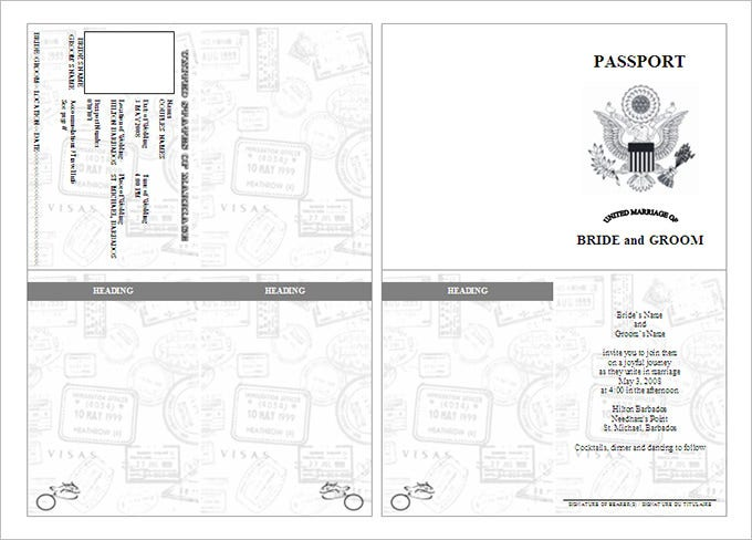 Bride Groom Passport Template