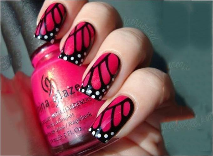 bright nail polish design