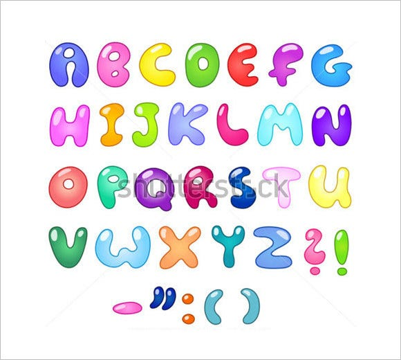 bubble shaped colorful text 1