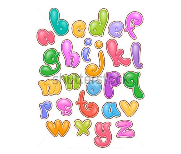 bubbly illustration alphabets suite