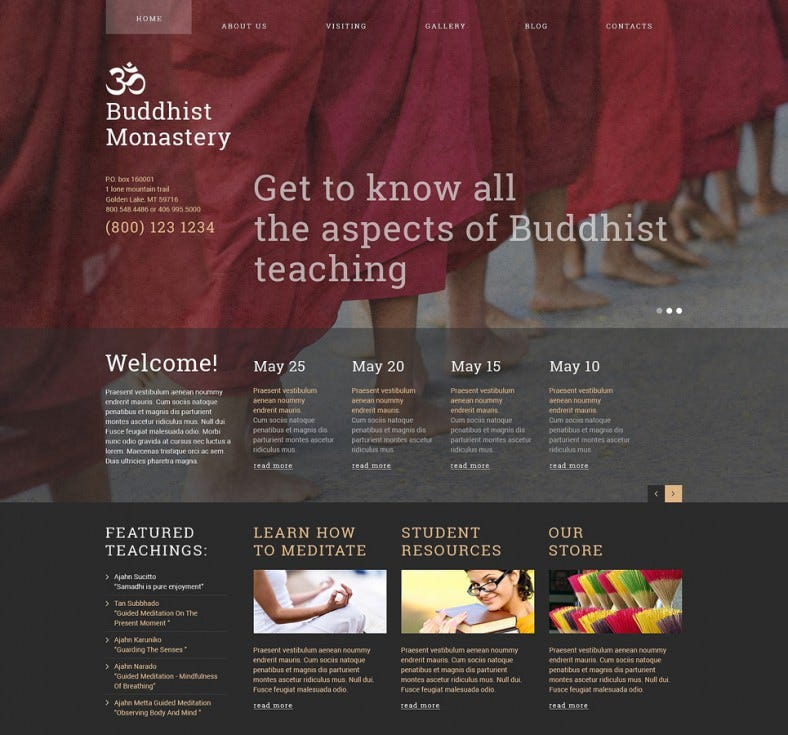 buddhist monastery spiritual joomla theme 75 788x735