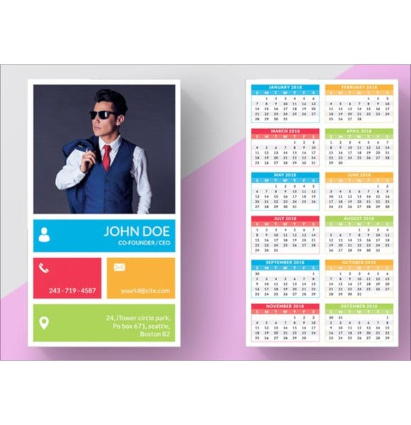 business card pocket calendar template1
