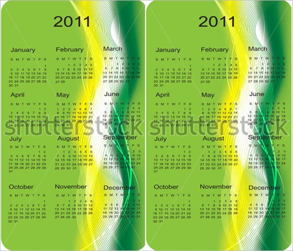 business cards pocket calendar template