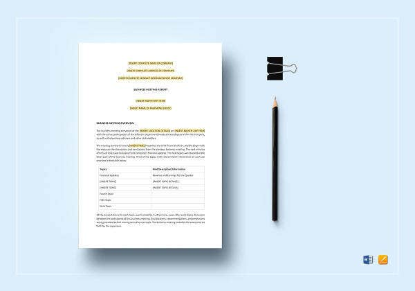 business meeting report template to print