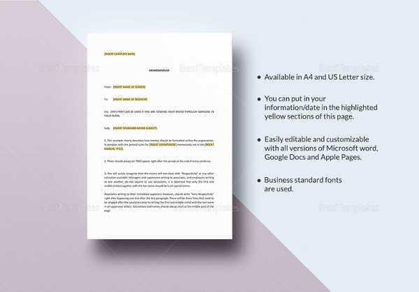Business Memo Template 18 Free Word Pdf Documents Download