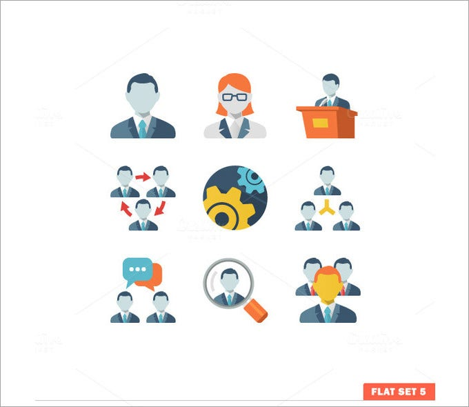 business people flat icons