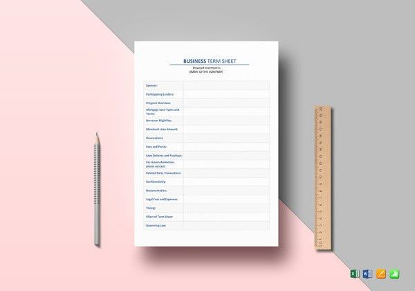 business term sheet word template