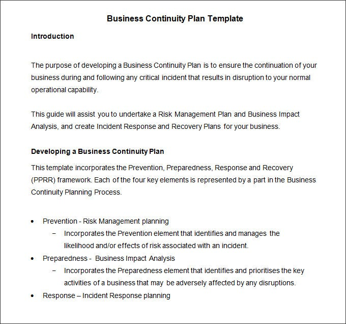 Business Continuity Plan Template 6 Free Word PDF Documents – Sample Business Continuity Plan Small Business