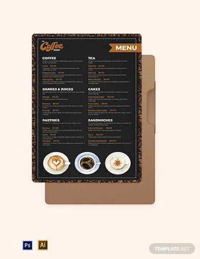 cafe coffee shop poster menu template