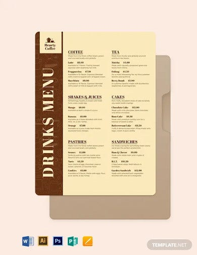 cafe coffee shop flyer menu template