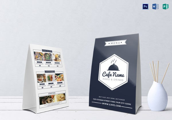 cafe menu table tent word