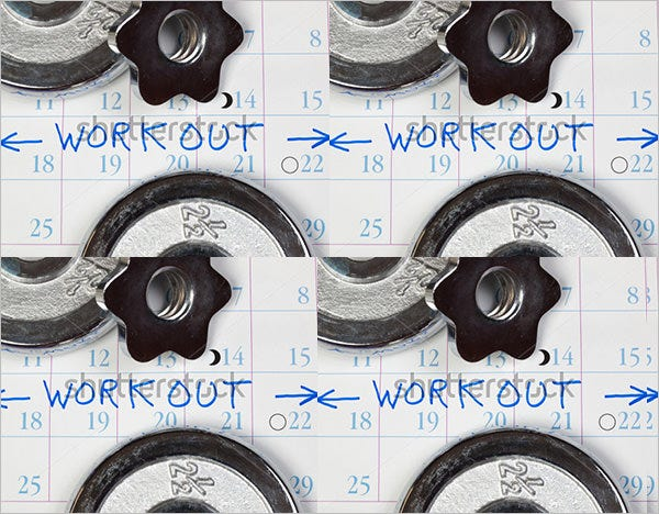 calendar workout template