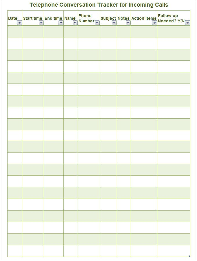 Nice Sample Call Log Template Download