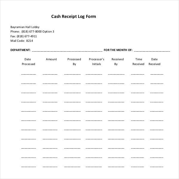cash receipt log form