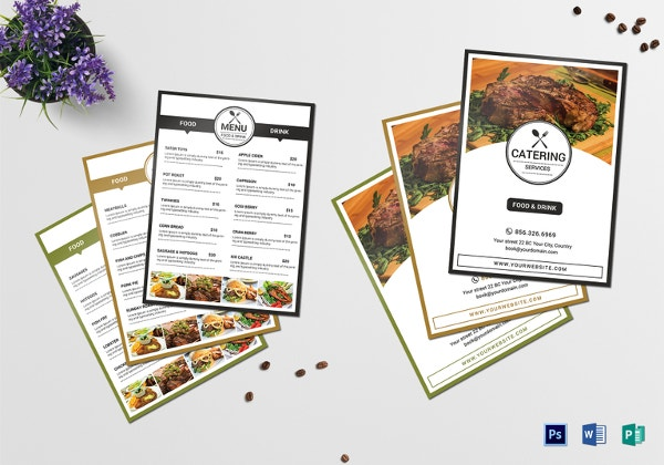 catering services menu template psd