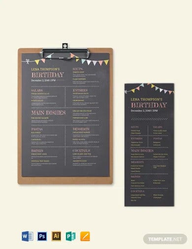 chalk board birthday menu template