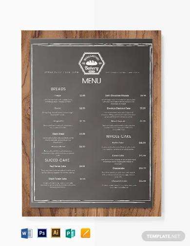 chalkboard bakery menu template