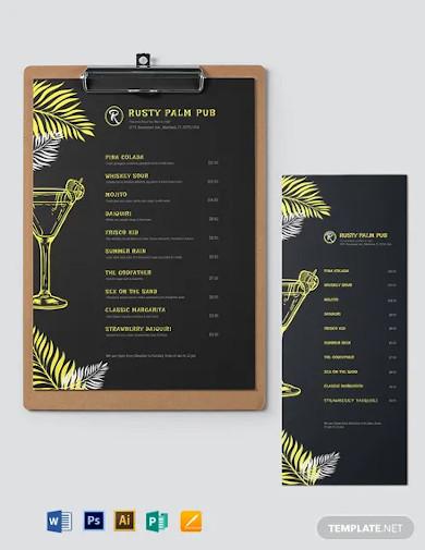 chalkboard cocktail menu template