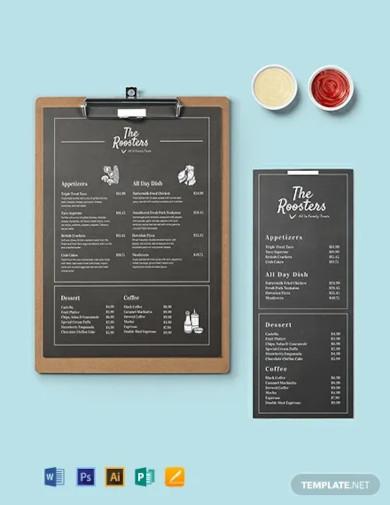 chalkboard menu card template1