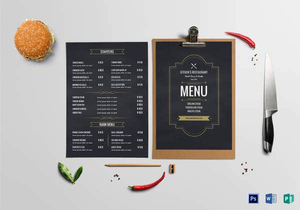 chalkboard restaurant menu board template
