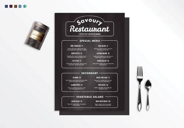 chalkboard restaurant menu template in ms word