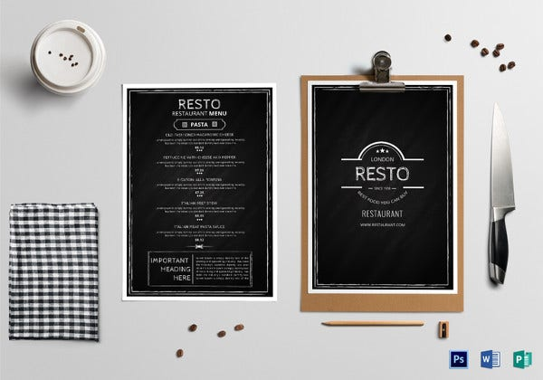 chalkboard restaurant menu template