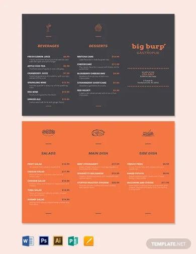 chalkboard trifold menu template