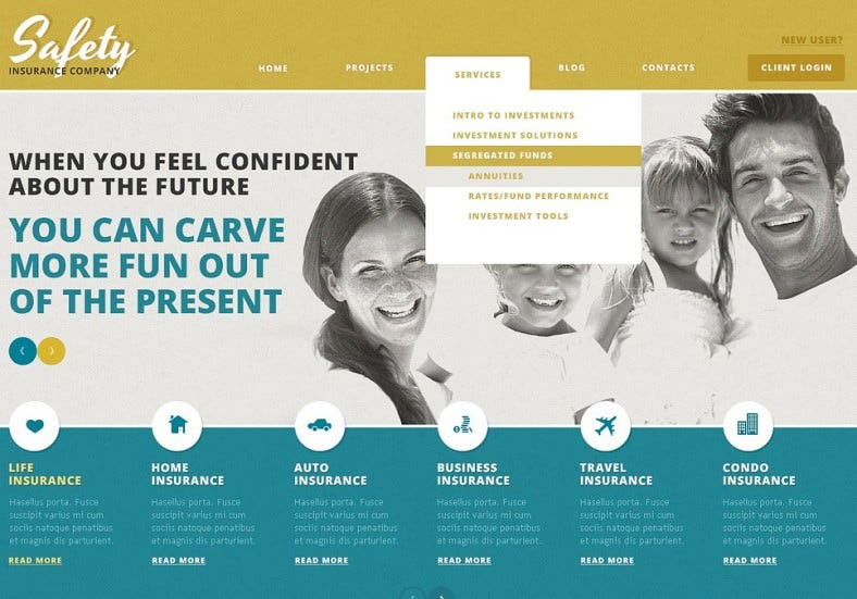 Insurance Company WordPress Template