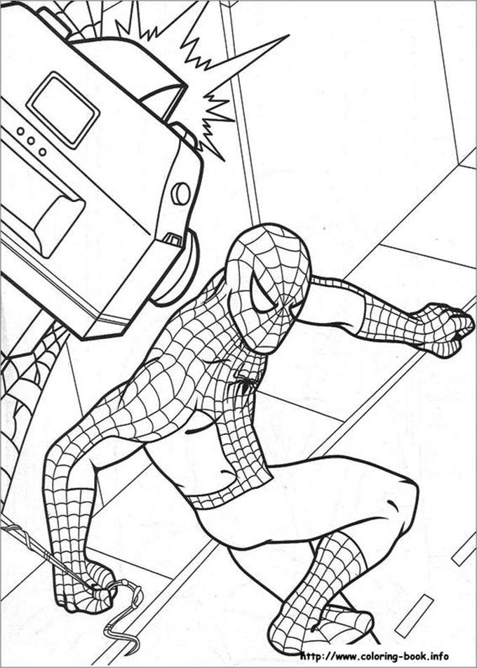 children colouring pages spiderman