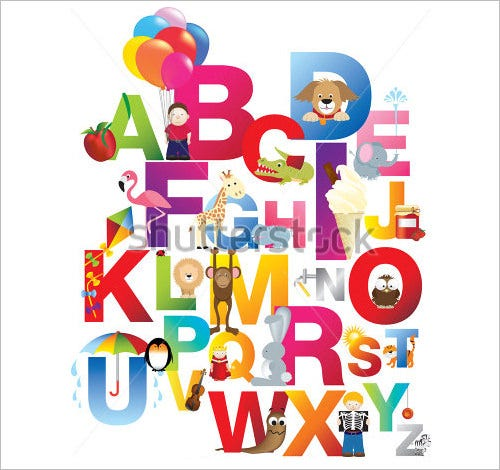 childrens english nursery alphabet letters set
