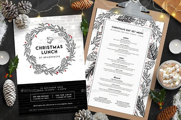 christmas lunch menu template