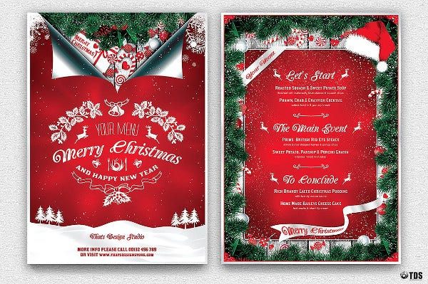 christmas menu photoshop template