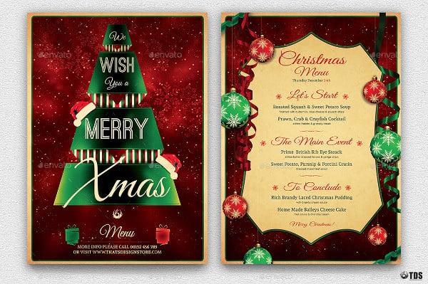 christmas menu template in psd