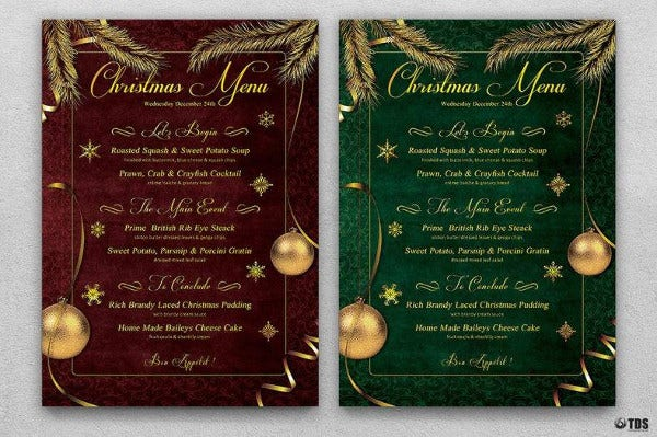 christmas menu template to edit
