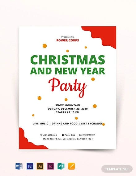 christmas new year party flyer template