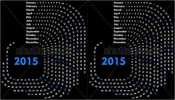 circle calendar template 2015