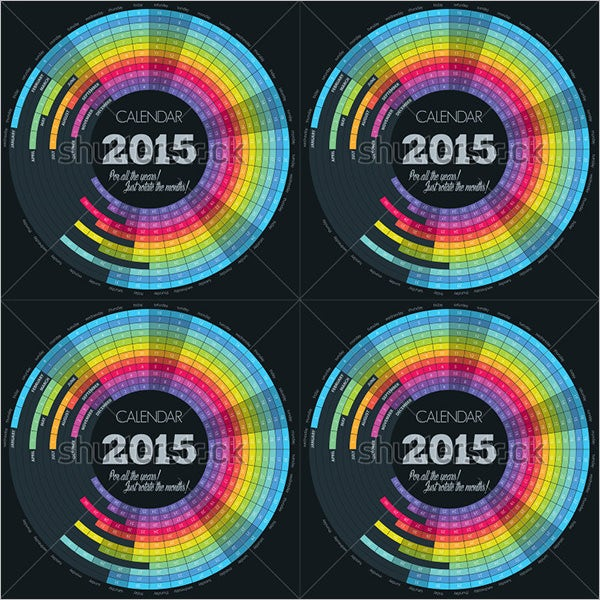 circle calendar template for 2015