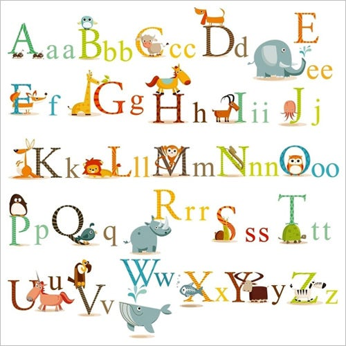 Worksheets Alphabet  Letter 20 nursery alphabet letters ai vector eps png jpeg format classic animal letter sticker