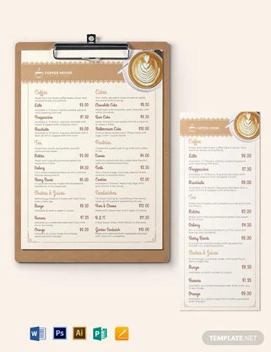 classic cafe coffee shop menu template